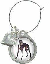Windhund Bild Design Weinglas Anhänger mit schicker Perlen