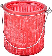 Windlicht 6er Set Ornaments Glas rot Teelichthalter (10x10x10cm)