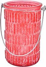 Windlicht 6er Set Ornaments Glas rot Teelichthalter (15x10x10cm)
