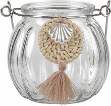 Windlicht aus gerilltem Glas mit Muscheln