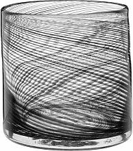 Windlicht aus Glas, bedruckt mit schwarzem
