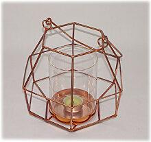 Windlicht aus Metall rot mit Glas