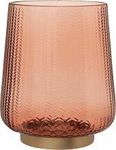 Windlicht aus rosa Glas mit Reliefmotiv und