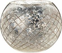 Windlicht aus silberfarbenem Glas in Antik-Optik