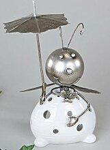 Windlicht Biene 25cm Metall/Keramik