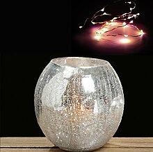 Windlicht Crackle ca. 16 cm + 10er LED