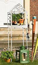 Windlicht / Dekohaus auf Ständer Metall antik weiss H120cm