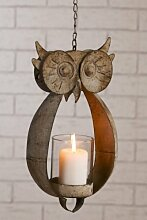 Windlicht Eule Garten Figur Kerze Teelich