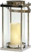 Windlicht, exklusive Laterne aus Edelstahl mit Glas 21 cm hoch | Gartenlaterne für die Terrasse im Sommer, Laternchen aus Glas und Metall