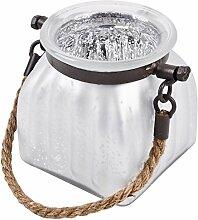 Windlicht Glas Xclusive 11x10cm weiss silber Teelichthalter
