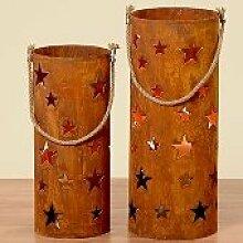 Windlicht Heaven mit Sternen H 60 cm - rostoptik