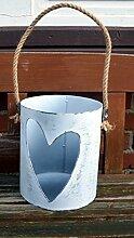 Windlicht Herz aus Metall ca. 25cm Laterne weiß