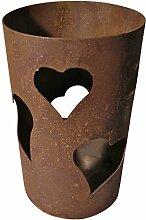 Windlicht Herzen 25/15 cm Rost,Edelrost (Rostsäule, Edelrostsäule)