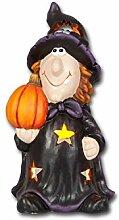 Windlicht Hexe 'Walburga' 27cm hoch, aus Keramik gefertigt, Halloween Herbst Dekoration Kerzenhalter Kürbis