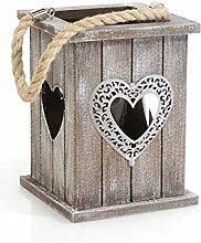 Windlicht Holz mit Herz und Kordel-Henkel 15cm x 19cm