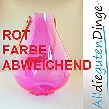 Windlicht in 6 Farben und 2 Größen aus Glas mit Lederriemen zum aufhängen (27 cm, Rot)
