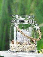 Windlicht JARDIN mit Kordel zyl. modernes Wohnaccessoire