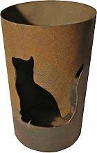 Windlicht Katze 25/15 cm Rost,Edelrost (Rostsäule, Edelrostsäule)