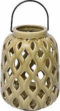 Windlicht Keramik oval alt-beige