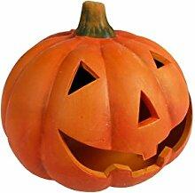 Windlicht Kürbis, aus Keramik + 2 Teelichte im Lieferumfang, Windlicht Größe 16 x 19 cm, Herbst, Halloween, Herbstdeko, Terasse, Garten