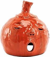 Windlicht Kürbis Keramik orange 25cm Herbst Halloween