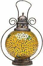 Windlicht Laterne Lampe Orient Garten Terasse Haus Glas Buntglas gelb 31cm