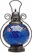 Windlicht Laterne Lampe Teelicht Garten Terasse Haus Glas Buntglas blau 31cm