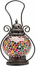Windlicht Laterne Lampe Teelicht Lampion Garten Terasse Haus Glas Buntglas 20cm