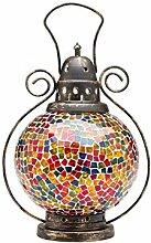 Windlicht Laterne Lampe Teelicht Lampion Garten Terasse Haus Glas Buntglas 31cm