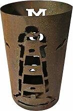 Windlicht Leuchtturm 25/15 cm Rost,Edelrost (Rostsäule, Edelrostsäule)