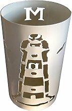 Windlicht Leuchtturm 25/15 cm weiß pulverbeschichtet (Rost,Edelrost,Rostsäule, Edelrostsäule)
