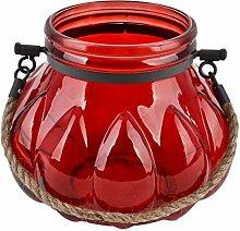Windlicht Maritima Design Glas 18x14x14cm rot Dekoration Teelich