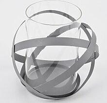 Windlicht Metropol Design Metall Glas grau Teelichthalter (20x20x20cm)