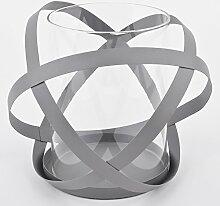 Windlicht Metropol Design Metall Glas grau Teelichthalter (22x25x25cm)