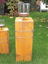 Windlicht Mills mit Glasaufsatz, H 60 cm rostoptik