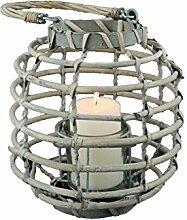 Windlicht mit Glaseinsatz Kerzenhalter Weidenlaterne Korb Rund geflecht Grau 23cm - Ideal für Garten, Balkon oder Terrasse