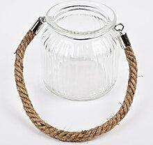 Windlicht mit Kordel Glas 10x11x11cm transparent Dekoration Teelich