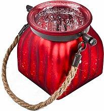Windlicht mit Kordel Glas 11x10x10cm rot silber Teelichthalter Dekoration