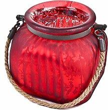 Windlicht mit Kordel Glas 14x15x15cm rot silber