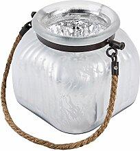 Windlicht mit Kordel Glas 14x15x15cm weiss silber Teelichthalter Dekoration