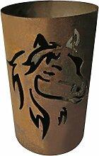 Windlicht Pferd 25/15 cm Rost,Edelrost (Rostsäule, Edelrostsäule)