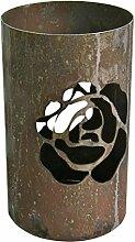 Windlicht Rose 25/15 cm Rost,Edelrost (Rostsäule, Edelrostsäule)