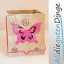 Windlicht Schmetterling aus Glas, Holz und Metall, 13 cm hoch Ø 11 cm Rosa