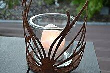 Windlicht Schmetterling Glas Kerze Rost Edelrost Tischdeko Geschenk Deko-Idee Rostdeko Rostfigur rostig Gartendekoration Gartendeko Garten Herbst Herbstdeko Metalldeko Weihnachten Weihnachtsgeschenk Winter Fensterschmuck