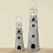 Windlicht-Set Leuchtturm ( 2er Set)
