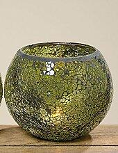 Windlicht Spiegel Mosaik grün lackiertes Glas H13 cm, Ø 15 cm