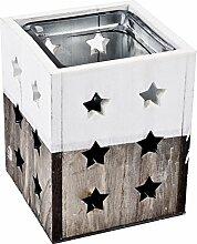 Windlicht Sterne Holz 16x13x13cm grau weiss Weihnachten Xmas Deko