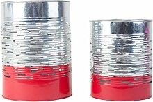 Windlicht Teelichtalter 2er Set Silber & Rot aus Metall