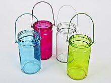 Windlicht Teelichtglas 4er Set Colours Glas 20x9cm bun