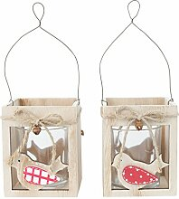 Windlicht Teelichthalter 2er Set Vogel Design aus Holz Garten Deko